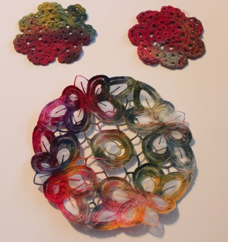 Ice dyed doilies