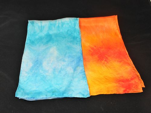 Silk scarves dyed using Colorhue Dyes