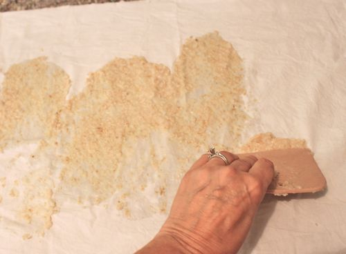 Spread the oatmeal mixture over the fabric