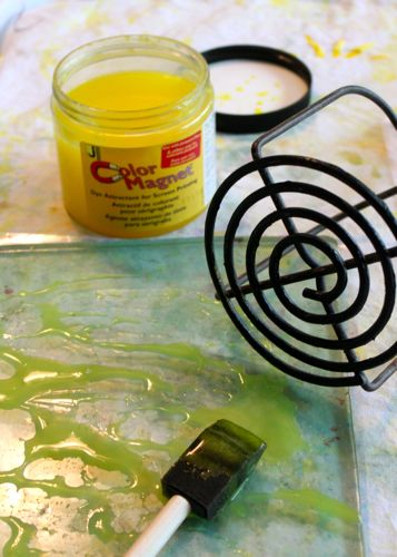 Potato masher and Gelli Arts Printing Plate