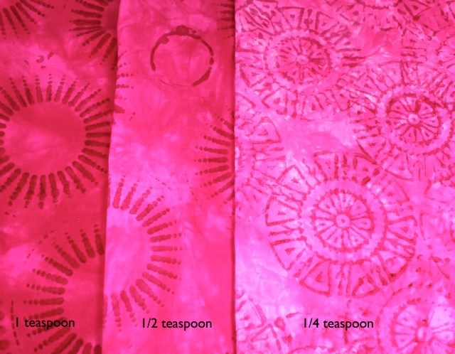 Comparison with three amounts of dye