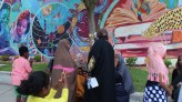 At the mural dedication.