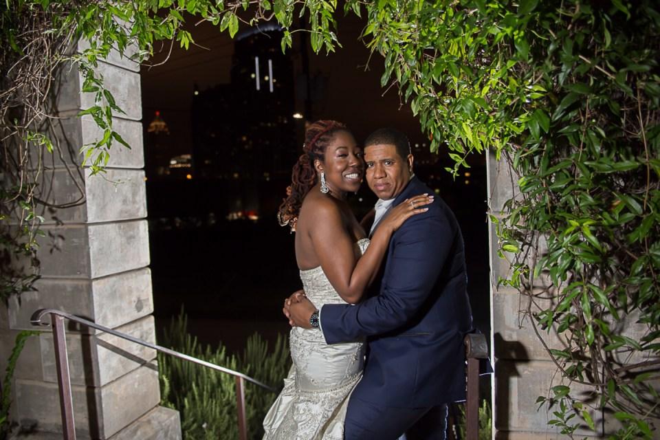 bride and groom during their summerour studio wedding