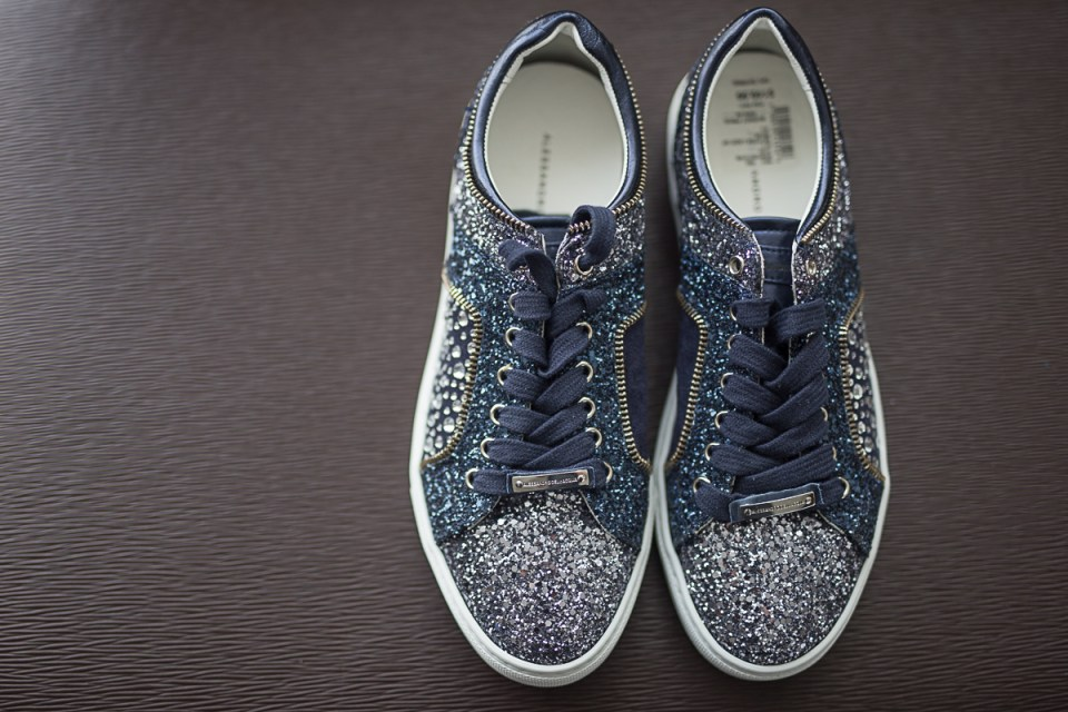 The bride's glittery sneakers that she wore during her reception
