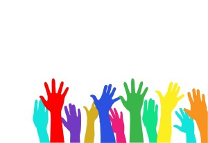 Raise your hand illustration of colorful hands raised