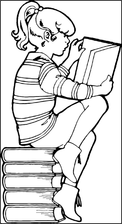 Line Drawing of a Girl Reading Book while sitting on a stack of books probably by the same author, You Need to do a Reading study, too.