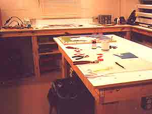 art glass cutting table in my glass studio