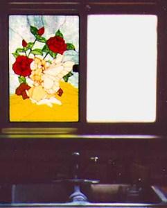 art glass window from the inside