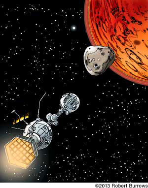 Illustration of the Ares space-liner as it approaches Deimos and Mars, Going to Mars word by word with a optimistic knight, lynettemburrows.com