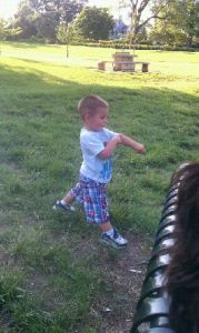 one of my youngest grandchildren in the park--another of the  13 things for which I am thankful