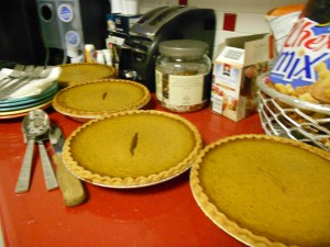 3 homemade pumpkin pies on my counter, food is one of  13 things for which I am thankful