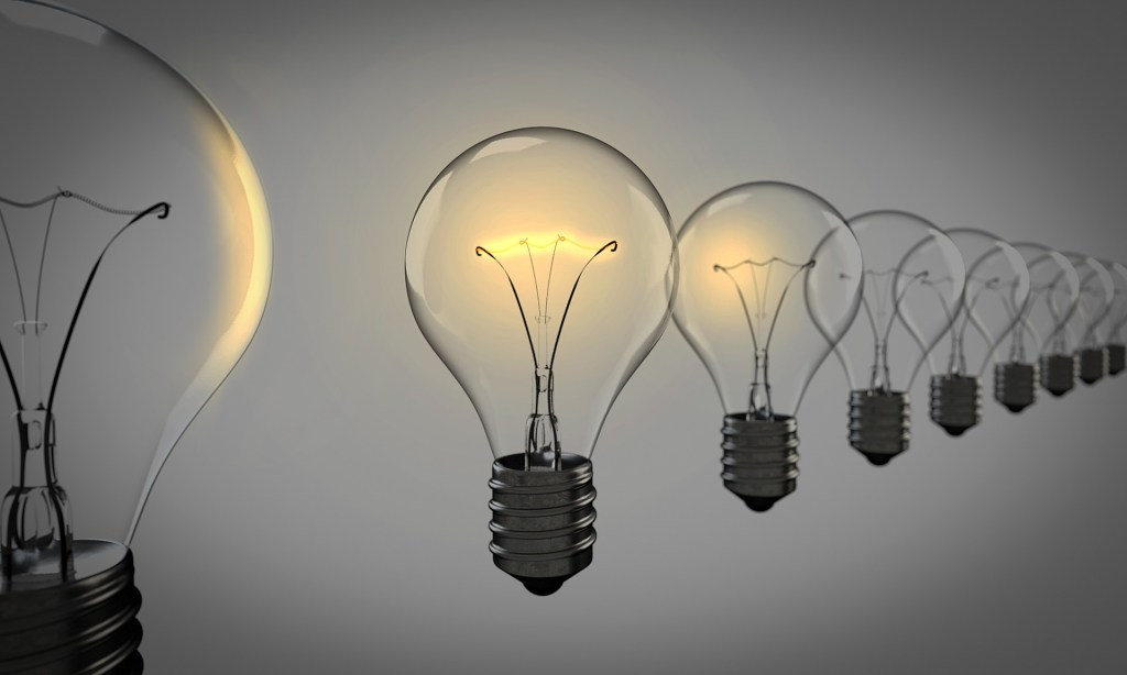 Image of a row of lightbulbs with one lit...Creativity needs to practiced. Here are 3 ways you can be more creative.