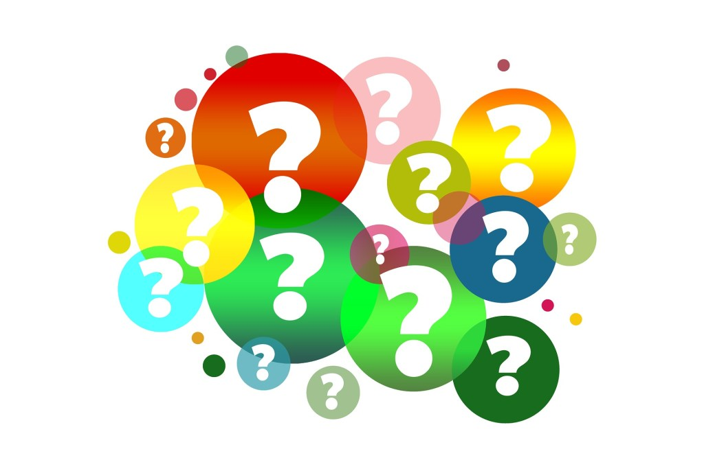 Colorful question marks indicate FAQs & Policies on Author Lynette M. Burrows's website.