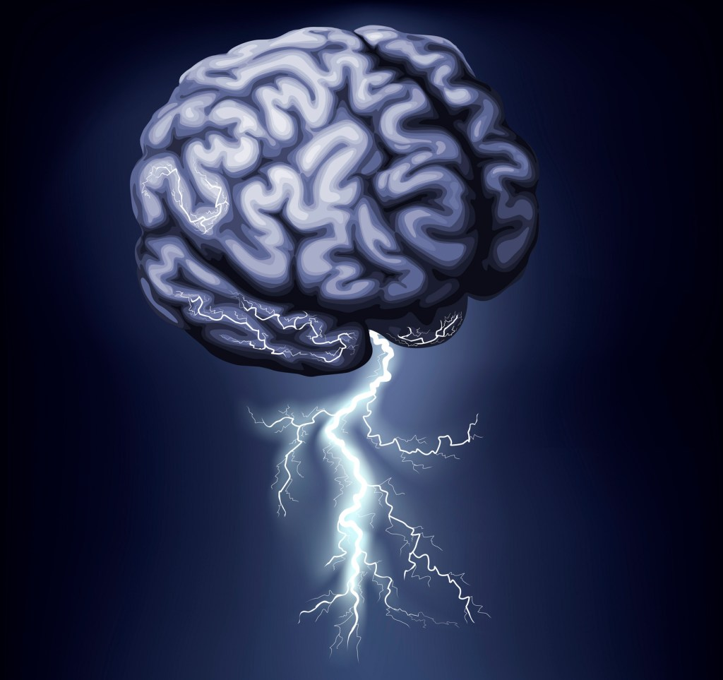 Image of a brain with electicity crackling thru it and lightening coming out of the bottom--brainstorming is one way to add power to your creativity with the basics
