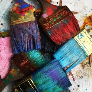 image of paint brushes with different colors of paint on them, you don't have to be an artist