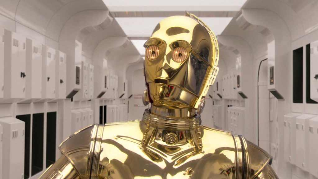 Image of C3PO from Star wars.  Robots and A.I. will challenge our humanity.