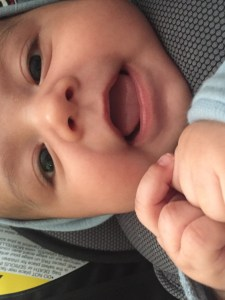 Image of my smiling  3 month old grandson. He has a bit of growing to do before he realizes that life is like plumbing.