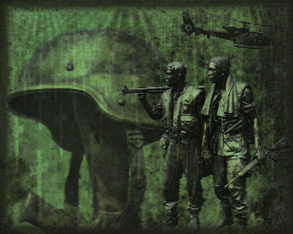 Green tinted image of soldiers superimposed over the image of a helmet on the stock of a rifle. A Veteran's Day Tribute