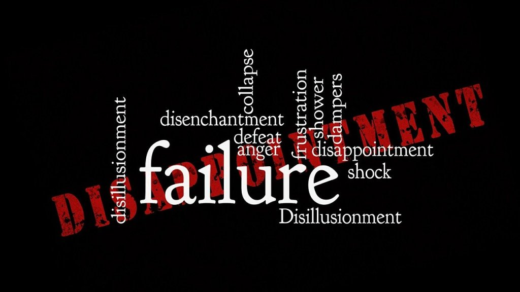 image of word cloud with Failure disappointment and disillusionment in it. The words I think when I feel defeated