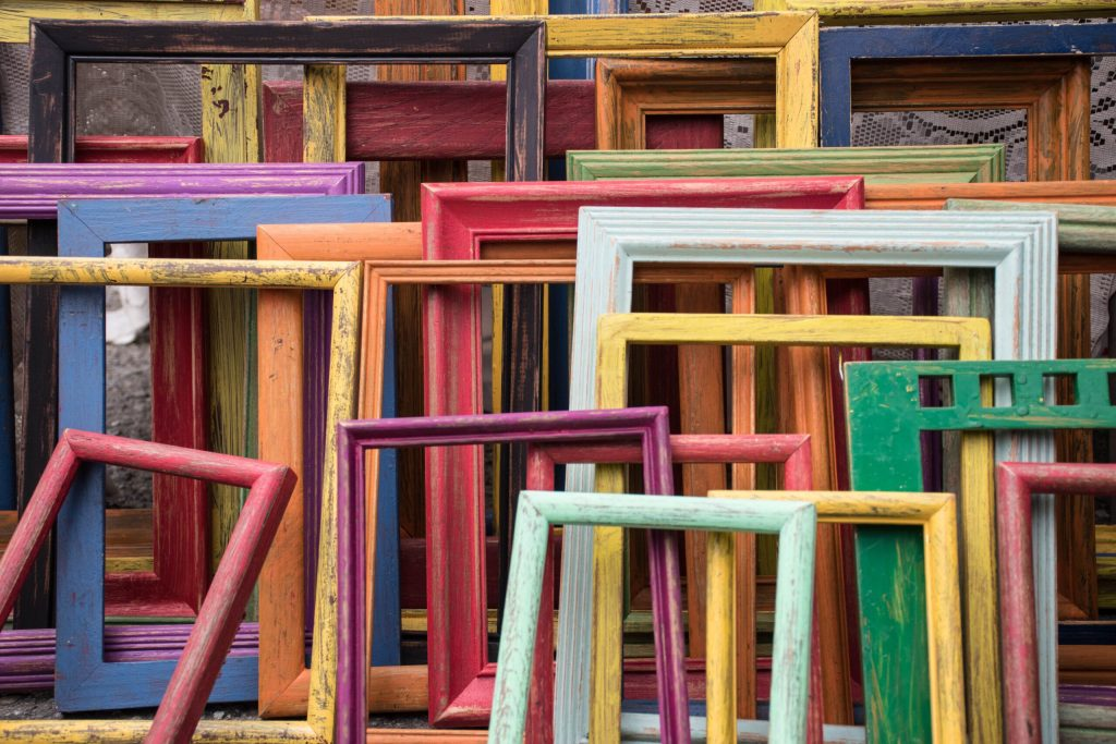 image of colorful but empty frames, like memory loss or amnesia