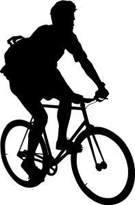 a black and white illustration of a man riding a bike--one of several ways to recharge physically listed in the 5 ways to support your creativity
