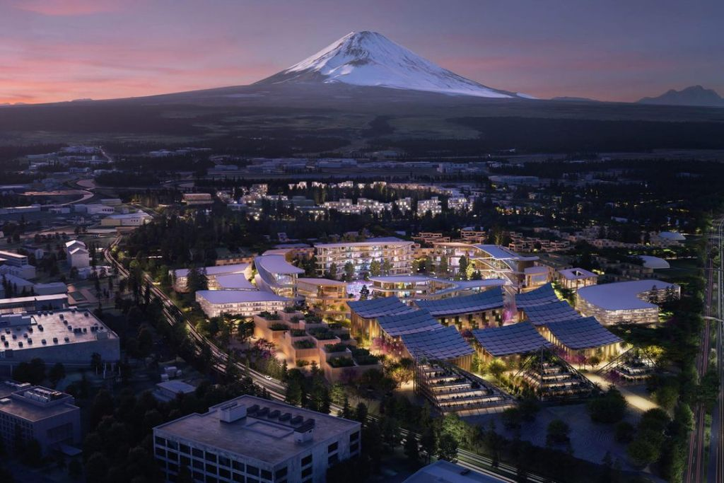 image of the city of the future: Toyota's Woven City with Mount Fuji in the background