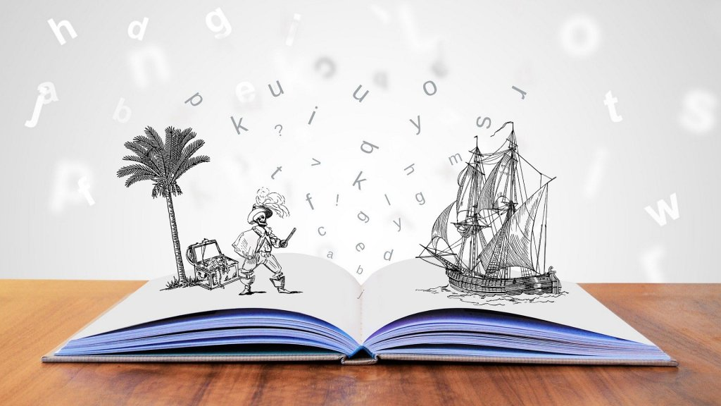 Image of an open book with a pirate on an island standing on one page and a pirate ship on the other page--but will you buy these books based on the first lines?