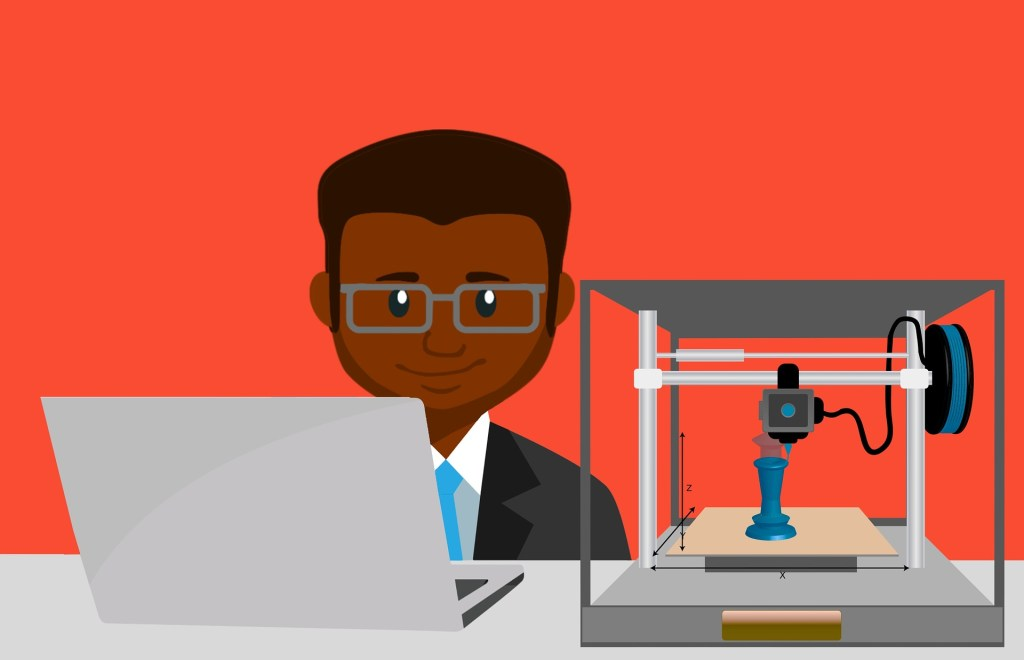 black man at laptop printing something on a 3D printer--will we 3d print organs--will organ farms in space make us immortal?