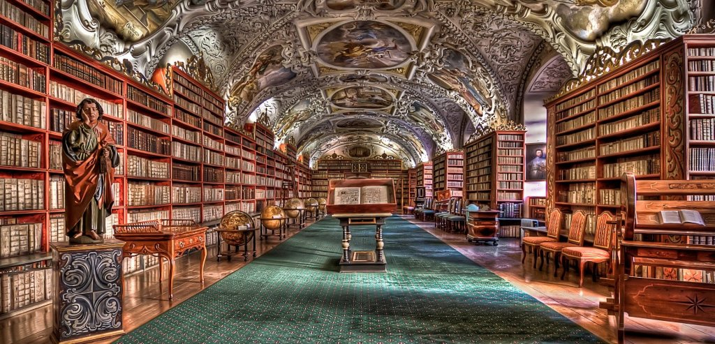Image of the library in Prague also eases my library withdrawal