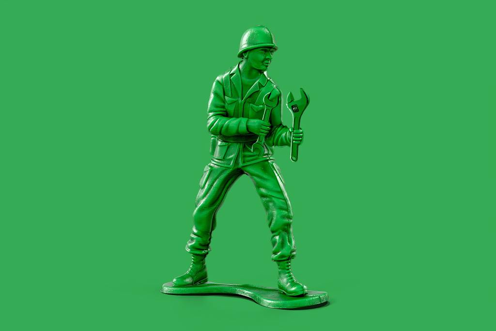 green toy soldier represents war