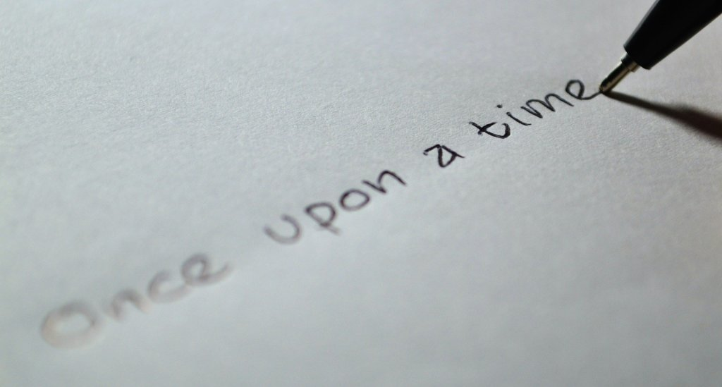 once upon a time handwritten on a piece of paper can be a great first line if you've written a fable or fairy tale