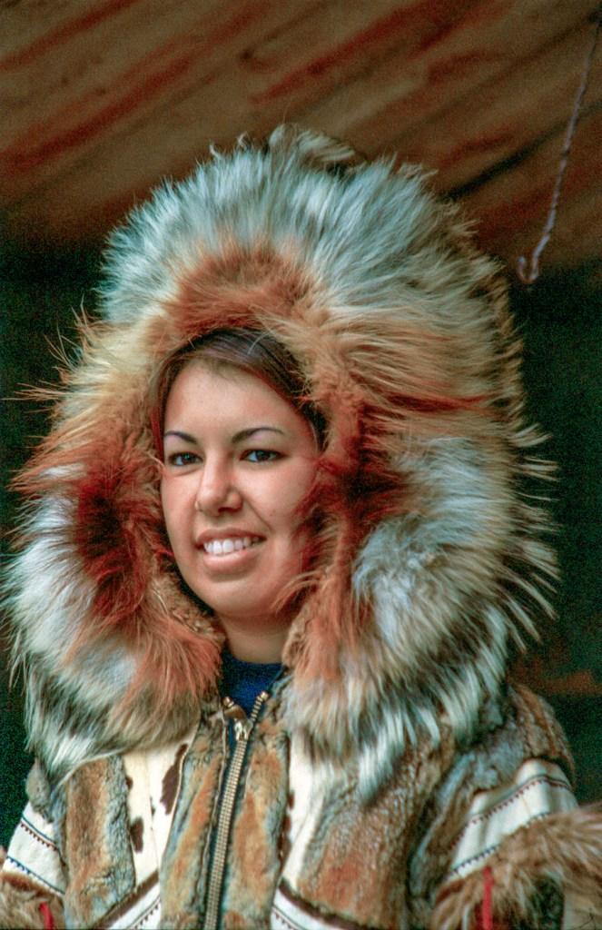 native alaskan woman wearing a parka