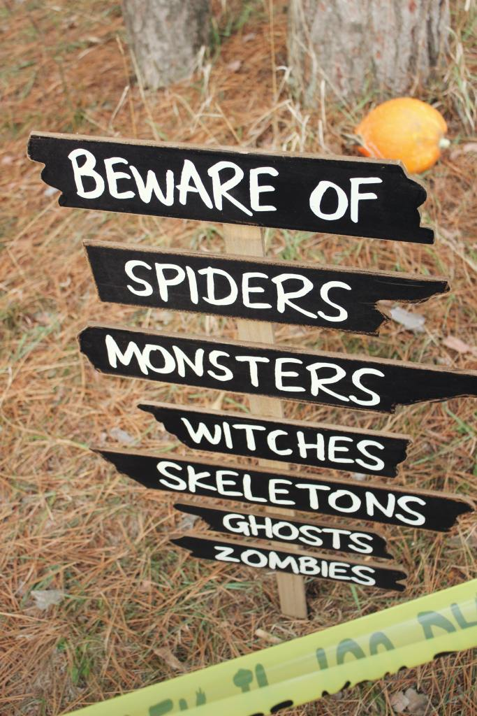 signpost states beware of: then points different directions to spiders, monsters, witches, skeletons, ghosts, and zombies--some of us believe in the impossible