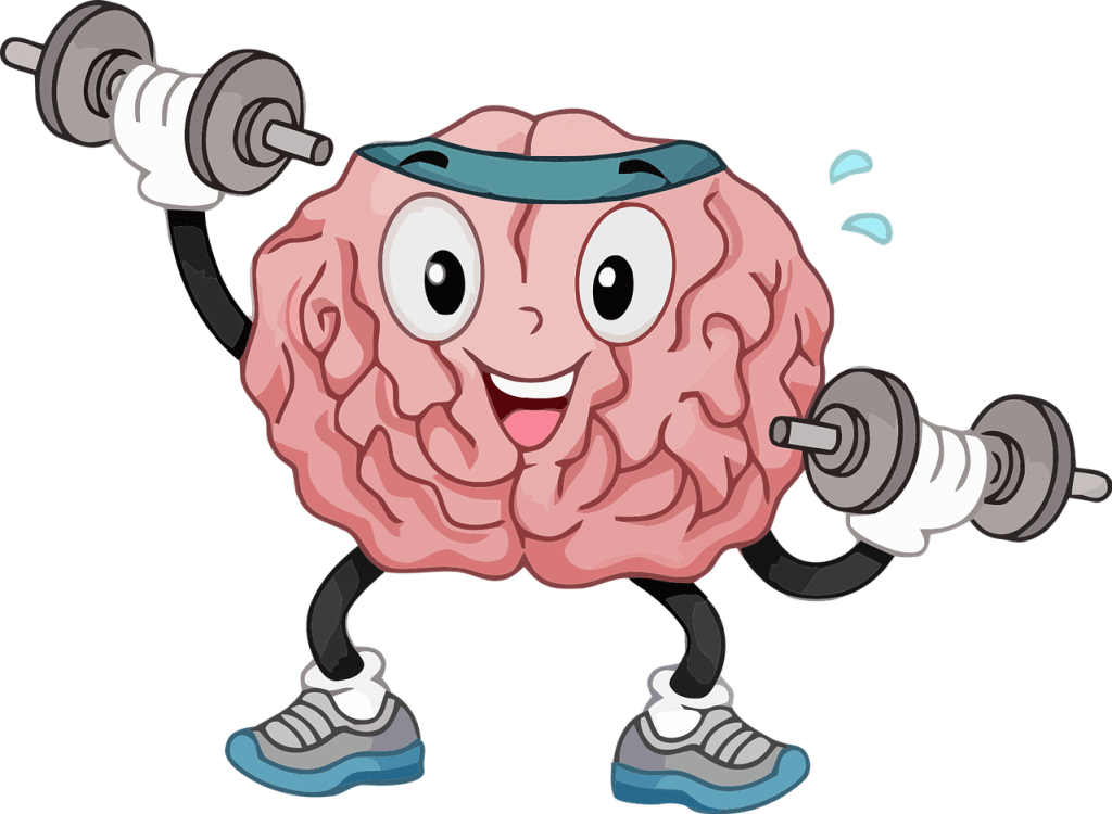 illustration of a happy brain lifting hand weights.