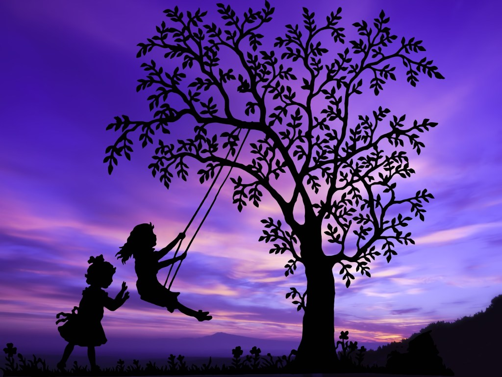 silhouette of girl on swing hanging from a tree and another girl pushing her so she goes higher--remember how creative you were as a child