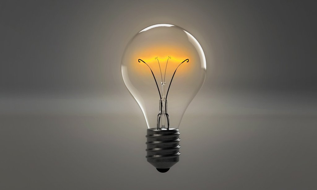 Image of a light bulb that is on--like that light bulb you can turn on your creativity