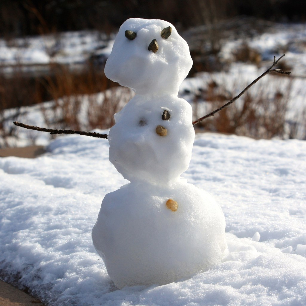 Image shows a imperfect, poorly made snowman that illustrate one of 13 ways to be creative when you feel unimaginative