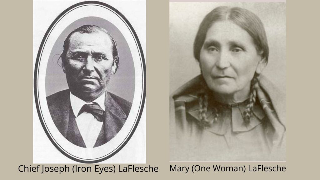 image with old photographs of Susan's parents. Joseph is in a suit coat white shirt and tie. Mary has looped braids on each side of her head and  is wearing a high necked dress with a cloak or blanket around her shoulders.