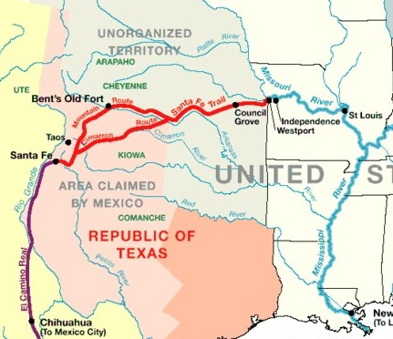 Image of the route the Magoffins take from Independence Missouri to Chihuahua, Mexico.