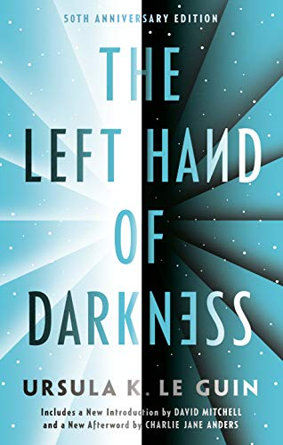 The cover of the left hand of darkness is a graphic representation of rays a light colored star field and a dark colored star field that meet in a horizontal center line. Radiating lines cross from the center of the horizontal line out to the edges of each star field