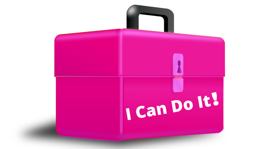You Need a Well-Stocked I Can Do It Toolbox like the on in this image: a white background a pink toolbox with the words I can do it on it represents