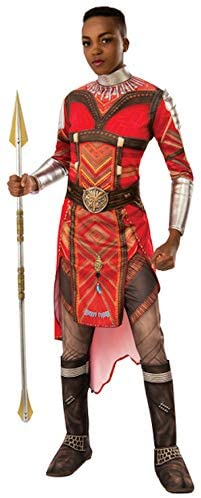 Image of a Dora Milaje warrior of Wakanda from the Black Panther film in a red costume with silver neck piece, gauntlets,epulets, and spear.