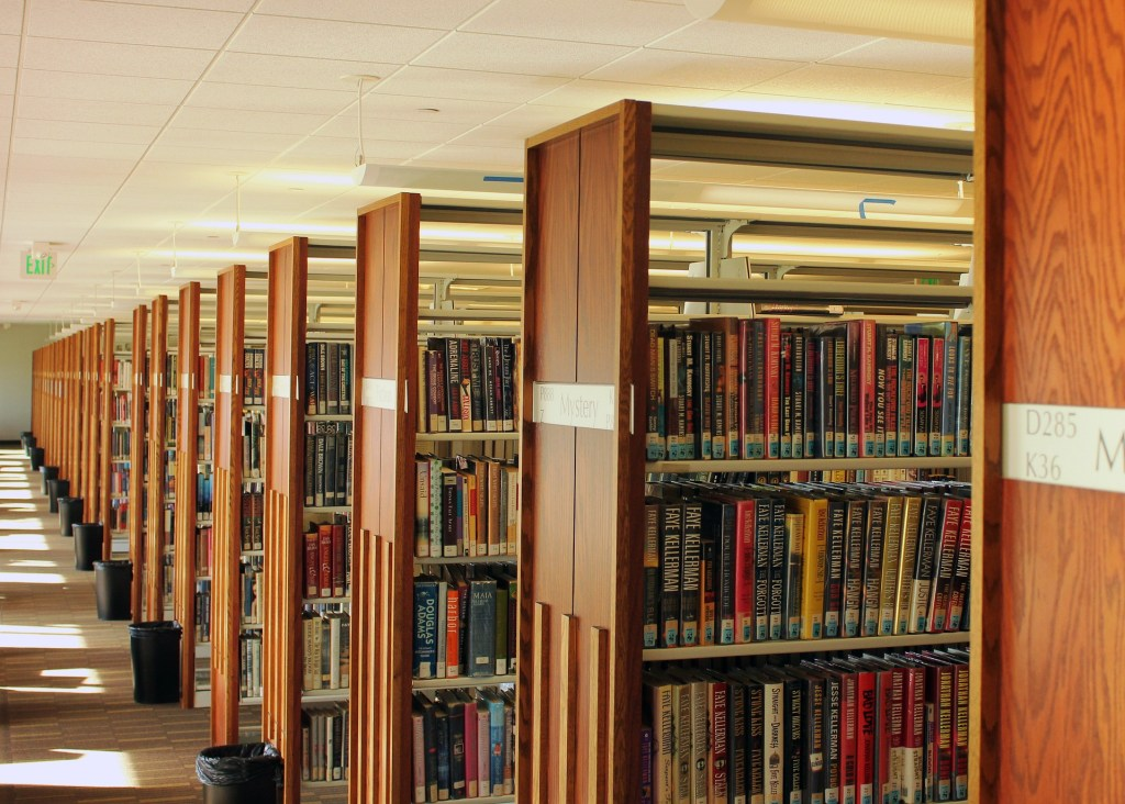 Photograph of a view of library stacks perhaps like the one where the night librarian works.