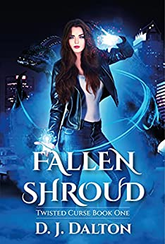 The Cover of Fallen Shroud by D. J. Dalton features a woman in black leather jacket and white t-shirt with blue swirls of magic around her.