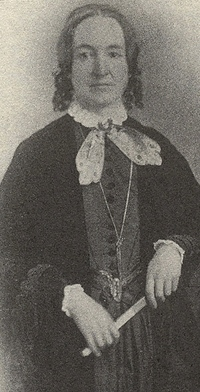 black and white photograph or linotype of Elizabeth Packard a woman who faced the inanity of inequality and fought it.