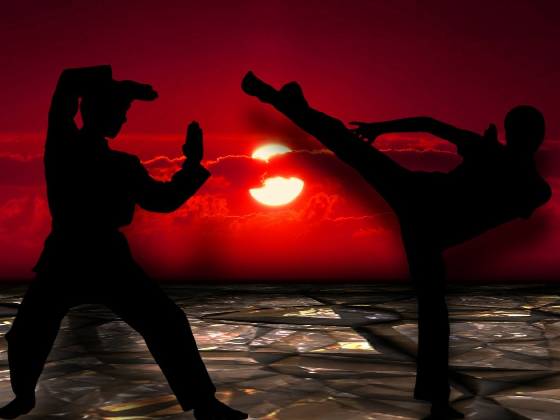 Image of martial arts style fight in silhouette against a sun covered in part by a red cloud against a red sky--a symbol that Freedom is under attack
