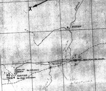Intelligence map, dated 26 June 1945, showing enemy dispositions along the death march track at Bauto. The track by-passes Telupid village (1.5 miles away), and then heads S-W to the crossing at Tampias.