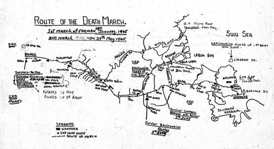 Investigation team's map showing the route along the Taviu river and clearly marked as being the route taken by POWs on both the 1st and 2nd marches.