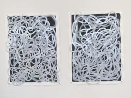 "Large loops in pigmented pen and colored pencil on gouache on rag paper, each 30"" h x 22""w"