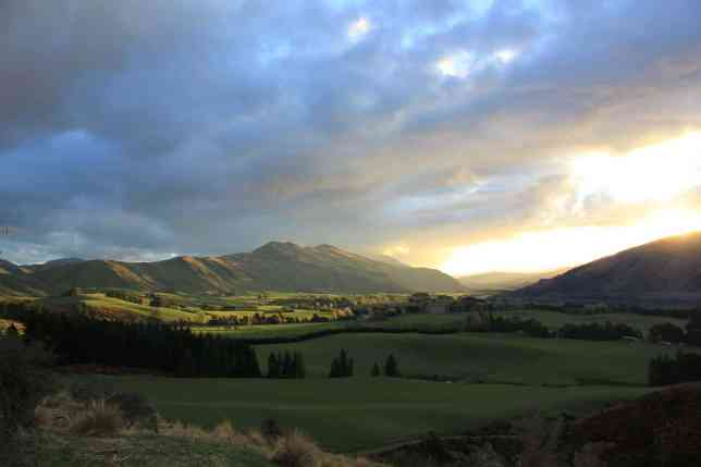 Evening view of the paddocks and mountains of the farm